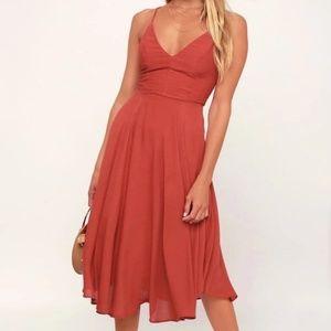 Lulu's Rust Midi Dress